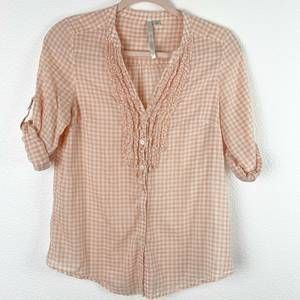 Lauren Conrad Checkered Ruffles Button Down Blouse